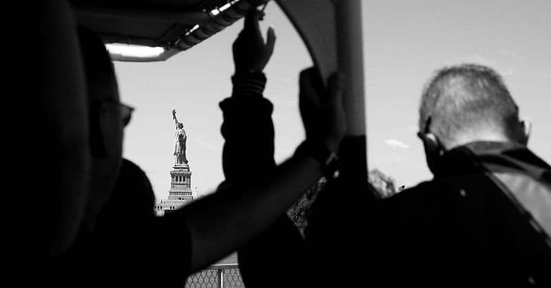 New York City.  Hands up for the Statue of Liberty