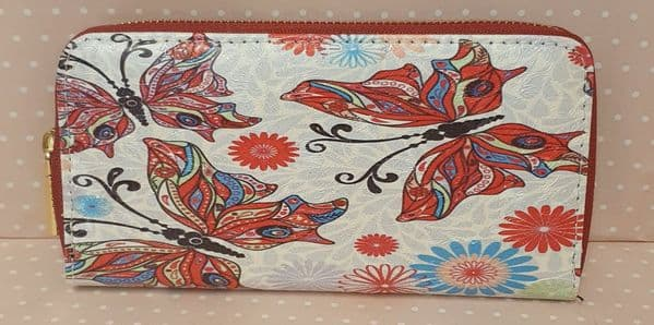 purse red butterfly design