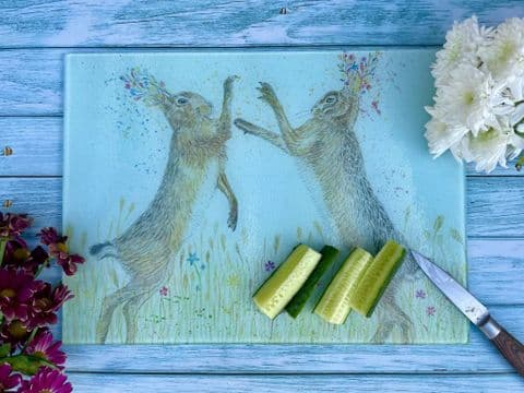 BOXING HARES ECO CHOPPING BOARD/ WORKTOP SAVER