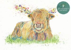 HAGRID THE HIGHLAND COW - SIGNED PRINT