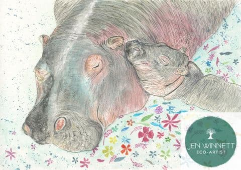 HILDA AND HUMPHREY HIPPOS SIGNED PRINT