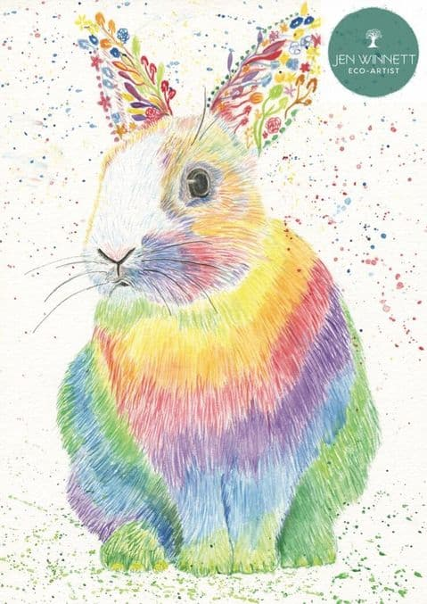 RAZA THE RAINBOW RABBIT  - SIGNED PRINT - NHS FUNDRAISER