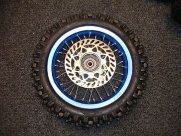 "12"" inch Complete Back wheel in blue with tyre /tube /Brake Disc/sprocket 420 pitch sprocket"