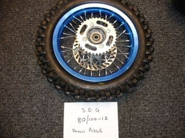 "12"" inch Complete Back wheel in blue with tyre /tube /Brake Disc/sprocket 428 pitch sprocket"