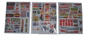 Assorted Graphics stickers 3 sheets in pack petrol pit dirt quad bike scooters