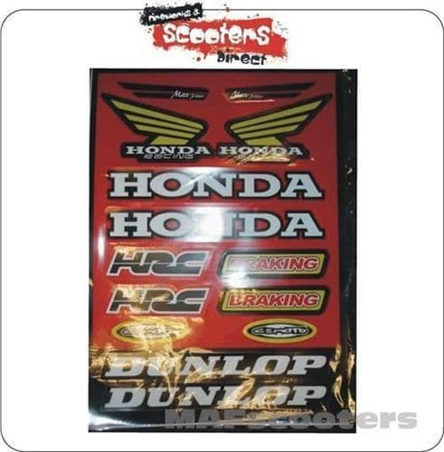 Honda sticker Pack Red for Pit/Dirt/Quads/Go-carts/MX/Road Bikes (SMALL)