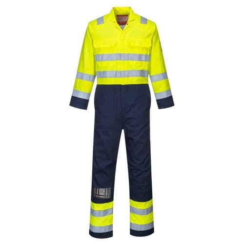 Hi-Vis Anti-Static Bizflame Pro Coverall Yellow/Navy