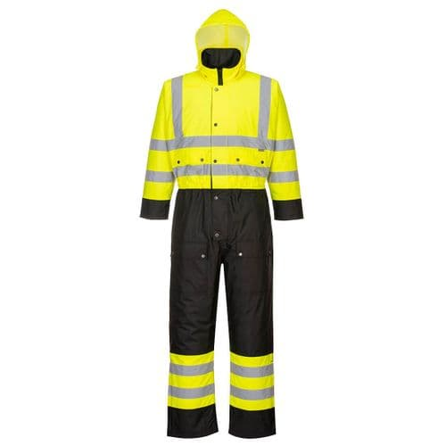 Hi-Vis Contrast Coverall - Lined Yellow/Black