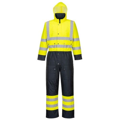 Hi-Vis Contrast Coverall - Lined Yellow/Navy