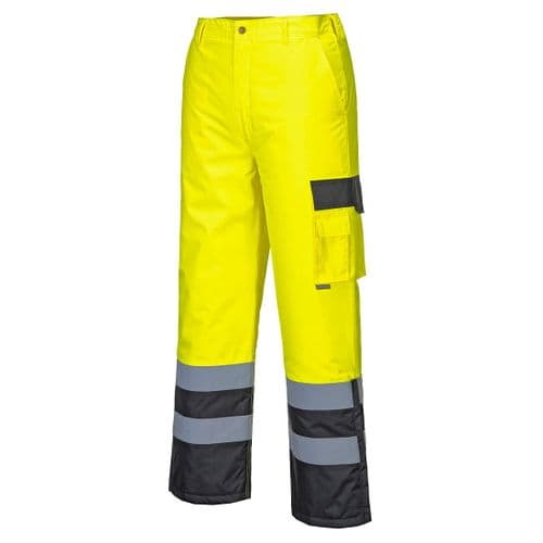 Hi-Vis Contrast Trousers - Lined Yellow/Black