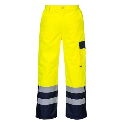 Hi-Vis Contrast Trousers - Lined Yellow/Navy