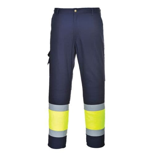 Hi-Vis Two Tone Combat Trousers Yellow/Navy Tall