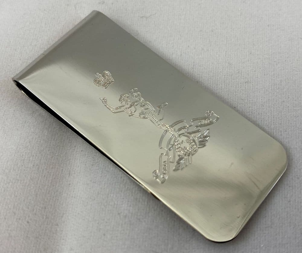 High Polish Chrome Money Clip - Engraved with Military Crest