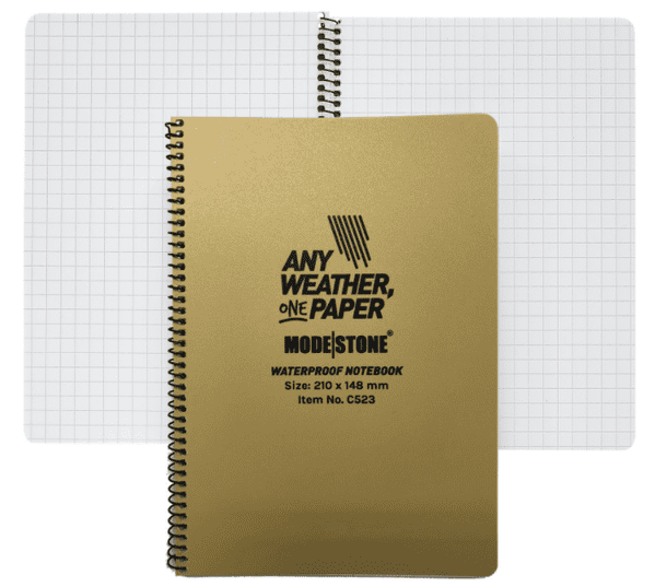 Modestone A5 Waterproof Notebook - Side Spiral - 210x148 mm (30 Sheets/60 Pages)