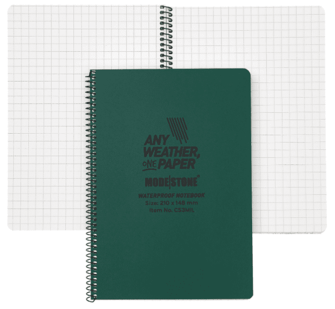 Modestone A5 Waterproof Notebook - Side Spiral - 210x148 mm (50 Sheets/100 Pages) - Military Model