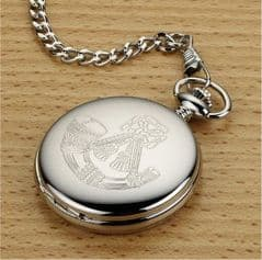 Personalised Engraved Full Hunter Chrome Plated Pocket Watch