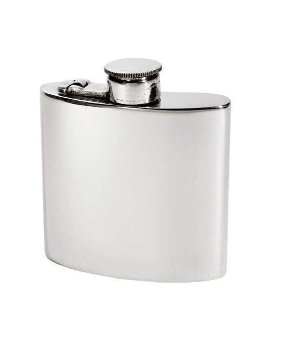 Pewter Kidney Hip Flask with Hinged Captive Top - 4oz