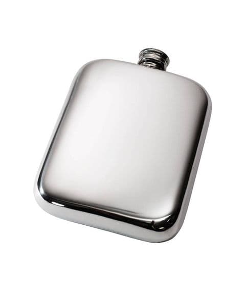 Pewter Pocket Hip Flask with Screw Top - 6oz