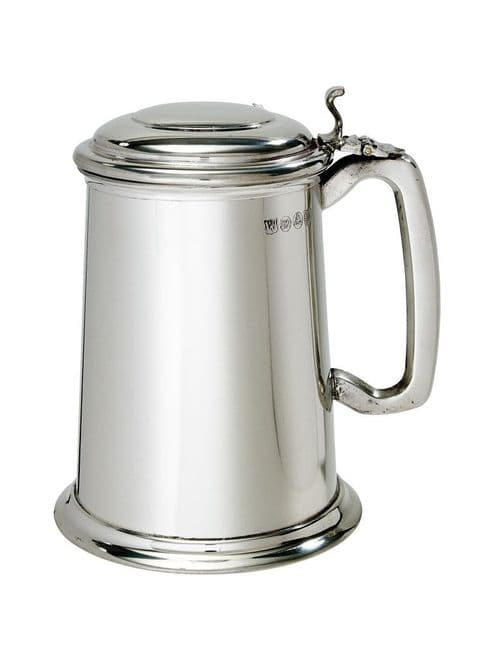 Regular Plain Lidded Pewter Tankard