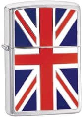 Union Jack Flag Brushed Chrome Zippo Lighter
