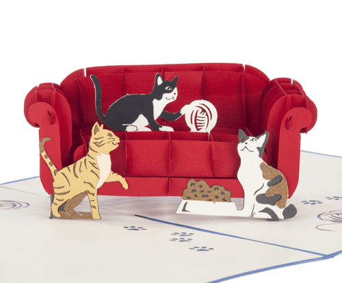 Cats On A Sofa Pop-Up Card