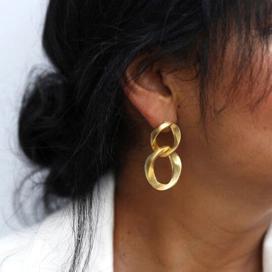 Chain Drop Statement Earrings: Antique Gold Effect