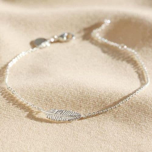 Delicate Sterling Silver Feather Bracelet