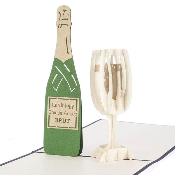 Glass of Bubbly 3D Pop Up Card   UK Delivery