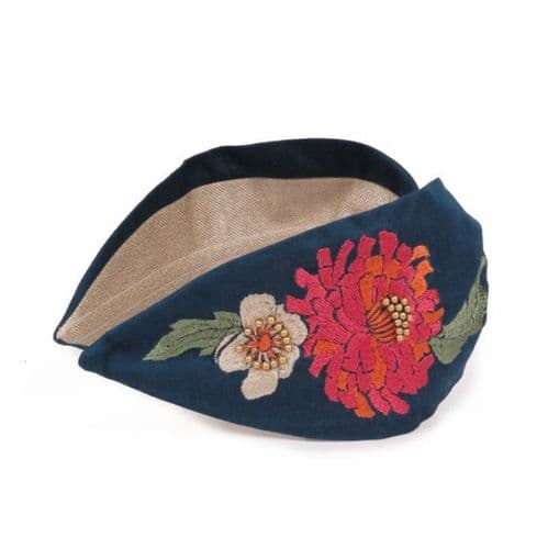 Luxury Embroidered Floral Headband - Teal - Powder