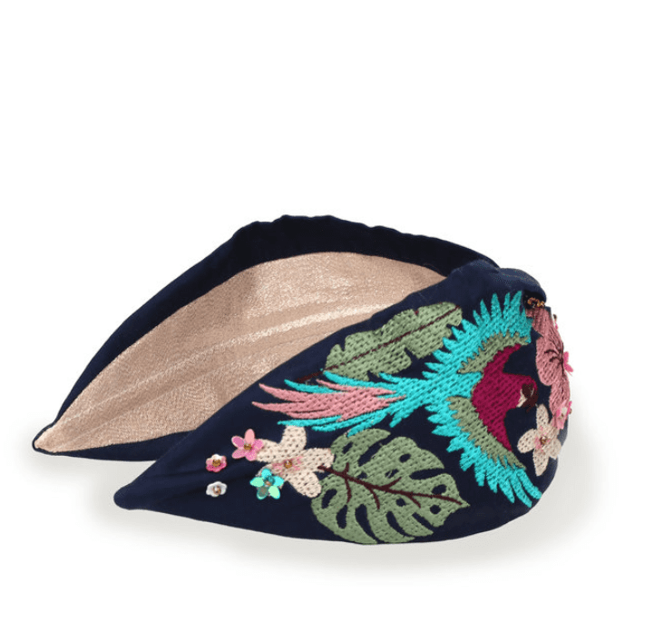 Luxury Embroidered Floral Parrot Headband by Powder UK