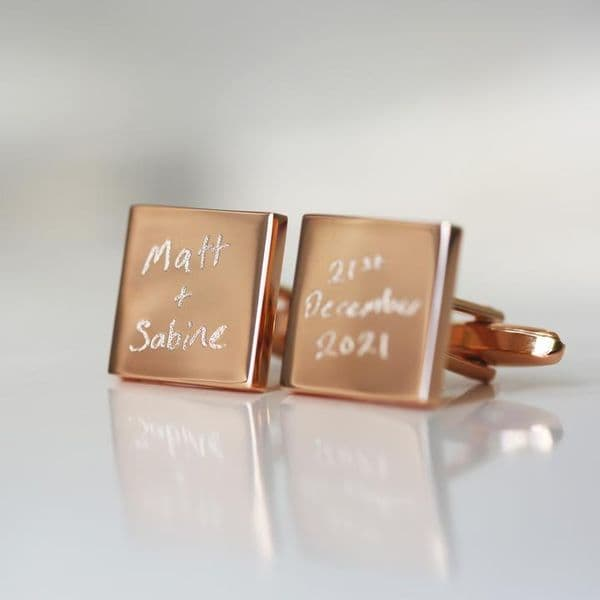Personalised Rose Gold Cufflinks | Own Handwriting Engraving | UK Delivery