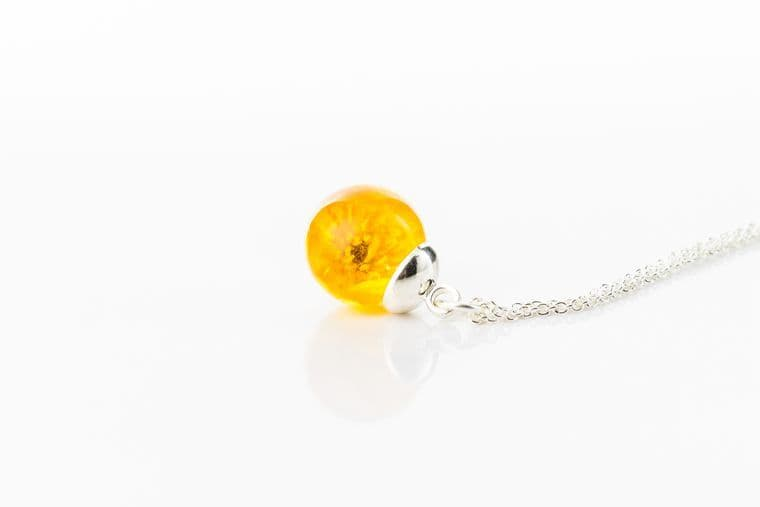 Real Buttercup Globe Necklace on Sterling Silver Chain