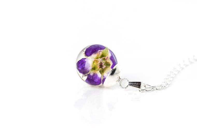 Real Wild Geranium Resin Globe Necklace on Sterling Silver Chain