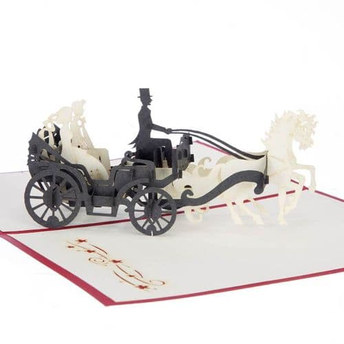 Wedding Horse & Carriage Pop Up Card