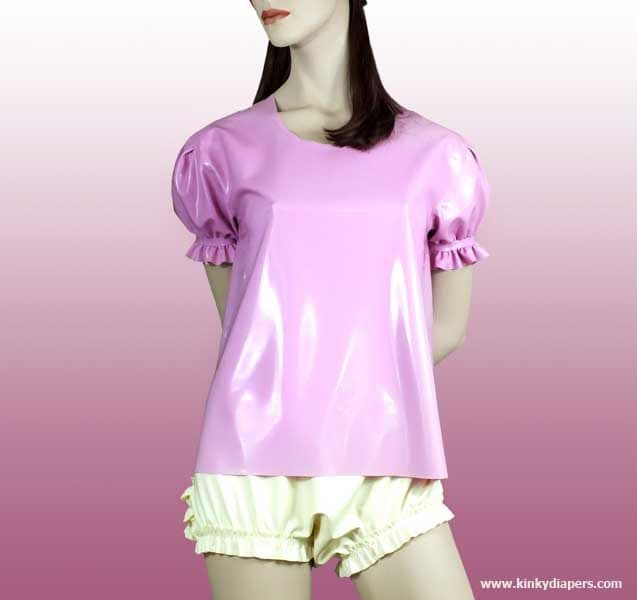 Latex shirt with puffed sleeves