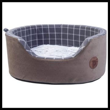 Petface Check and Bamboo Oval Foam Dog Bed