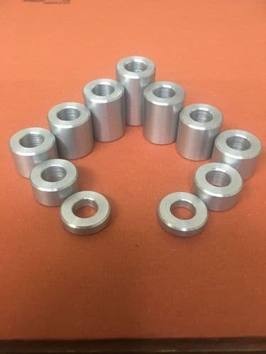 20MM Dia Aluminium Stand Off Spacers Collar Bonnet Raisers Bushes with M8 Hole