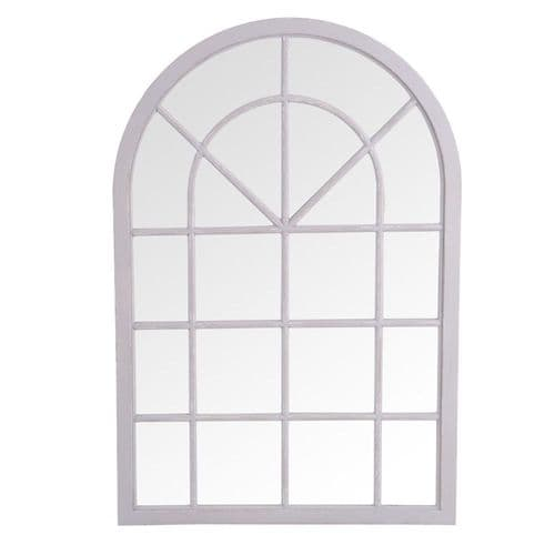 Mirrors Small Arched Window Mirror Grey