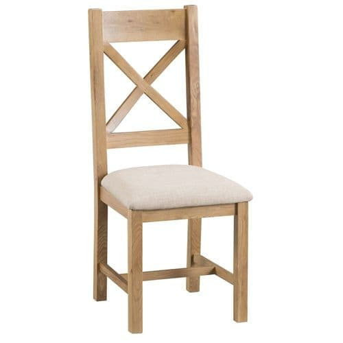 Oakham Country Cross Back Chair Fabric Seat