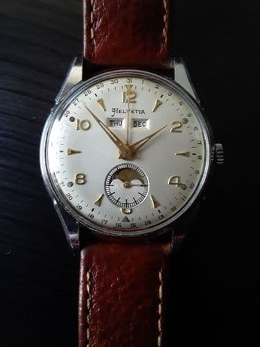Helvetia Moonphase Day Date Wrist Watch