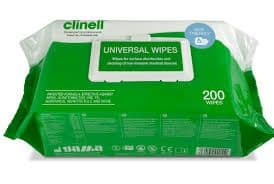 Clinell Multi Surface Wipes Resealable Flat pack 200