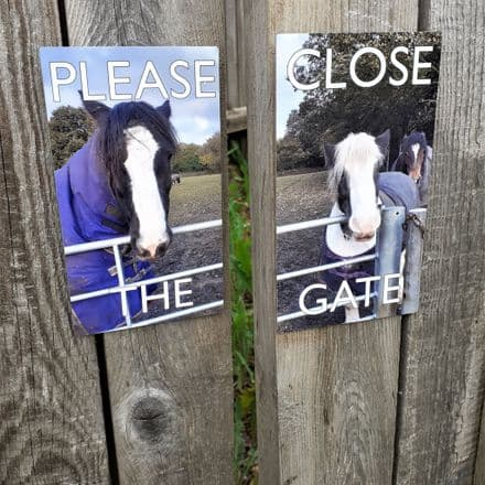 Please close the gate signs with photo