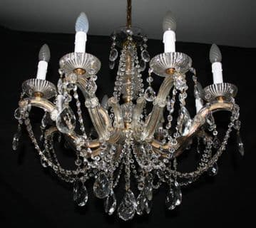 VINTAGE MARIE THERESE CHANDELIER,   LARGE GLASS CLAD CEILING LIGHT - Ref: AAG15