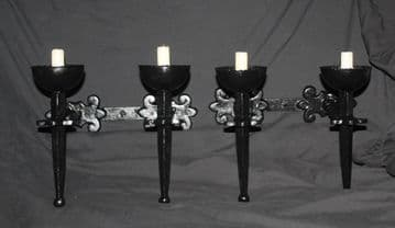 VINTAGE PAIR OF METAL  WALL  LIGHTS  TWO CANDLE  SCONCES - Ref: ASP5