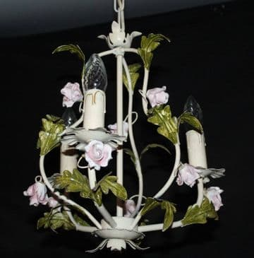 VINTAGE TOLEWARE CHANDELIER  TOLE CEILING LIGHT WITH  CERAMIC  ROSES - Ref: ASP25