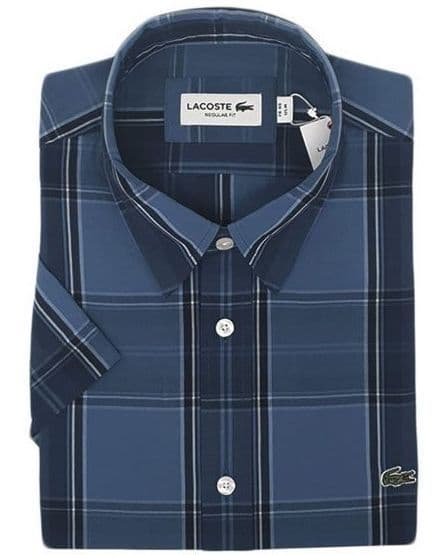 Lacoste Short Sleeve Shirt Navy Check