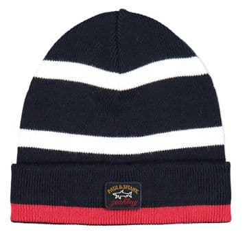 Paul and Shark Beanie  navy/red trim