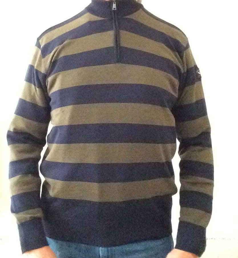 Paul & Shark Merino Wool Zip  Stripe  Khaki