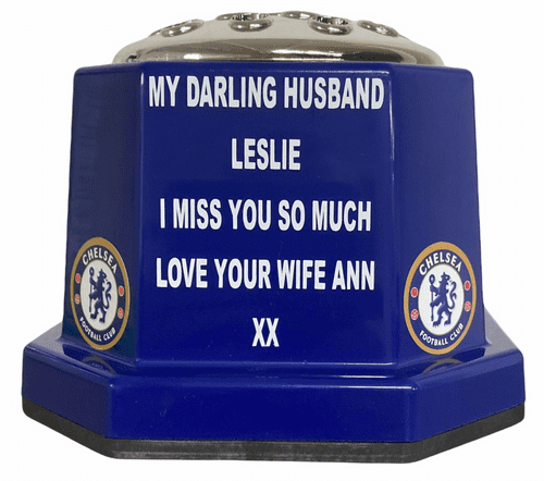 Chelsea F. C. football personalised grave pot 50p blue
