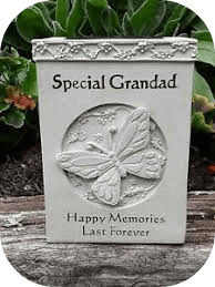 Grandad memorial rose bowl with butterfly detail .remembrance graveside/garden